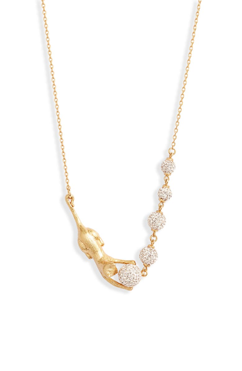 KATE SPADE NEW YORK house cat pavé necklace, Main, color, CLEAR/ GOLD