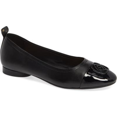 Taryn Rose Penelope Cap Toe Ballet Flat- Black