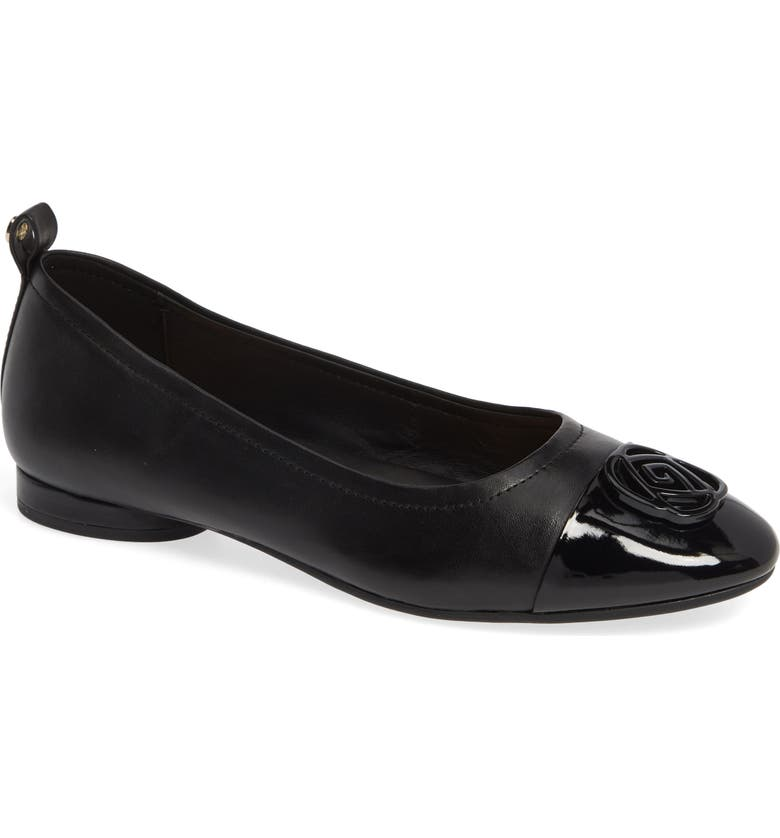 TARYN ROSE Penelope Cap Toe Ballet Flat, Main, color, BLACK NAPPA LEATHER