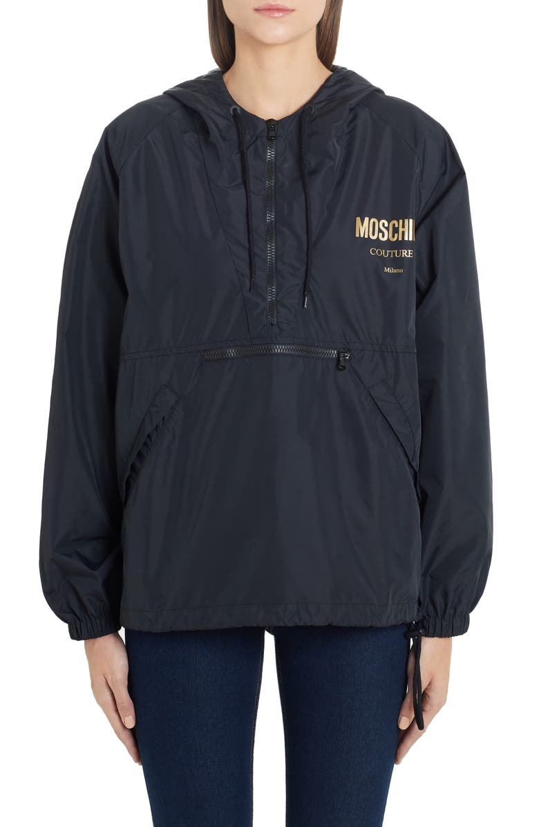 MOSCHINO Metallic Logo Nylon Jacket, Main, color, BLACK