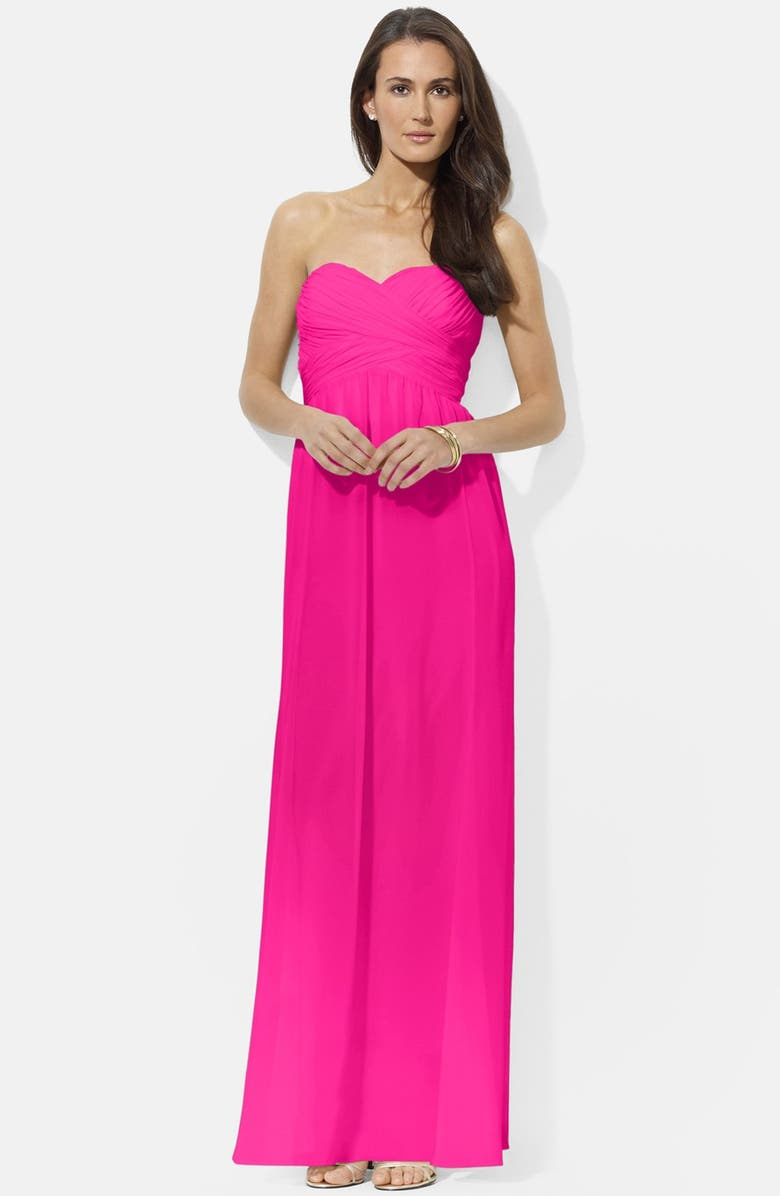 LAUREN RALPH LAUREN Ruched Strapless Chiffon Gown, Main, color, 650
