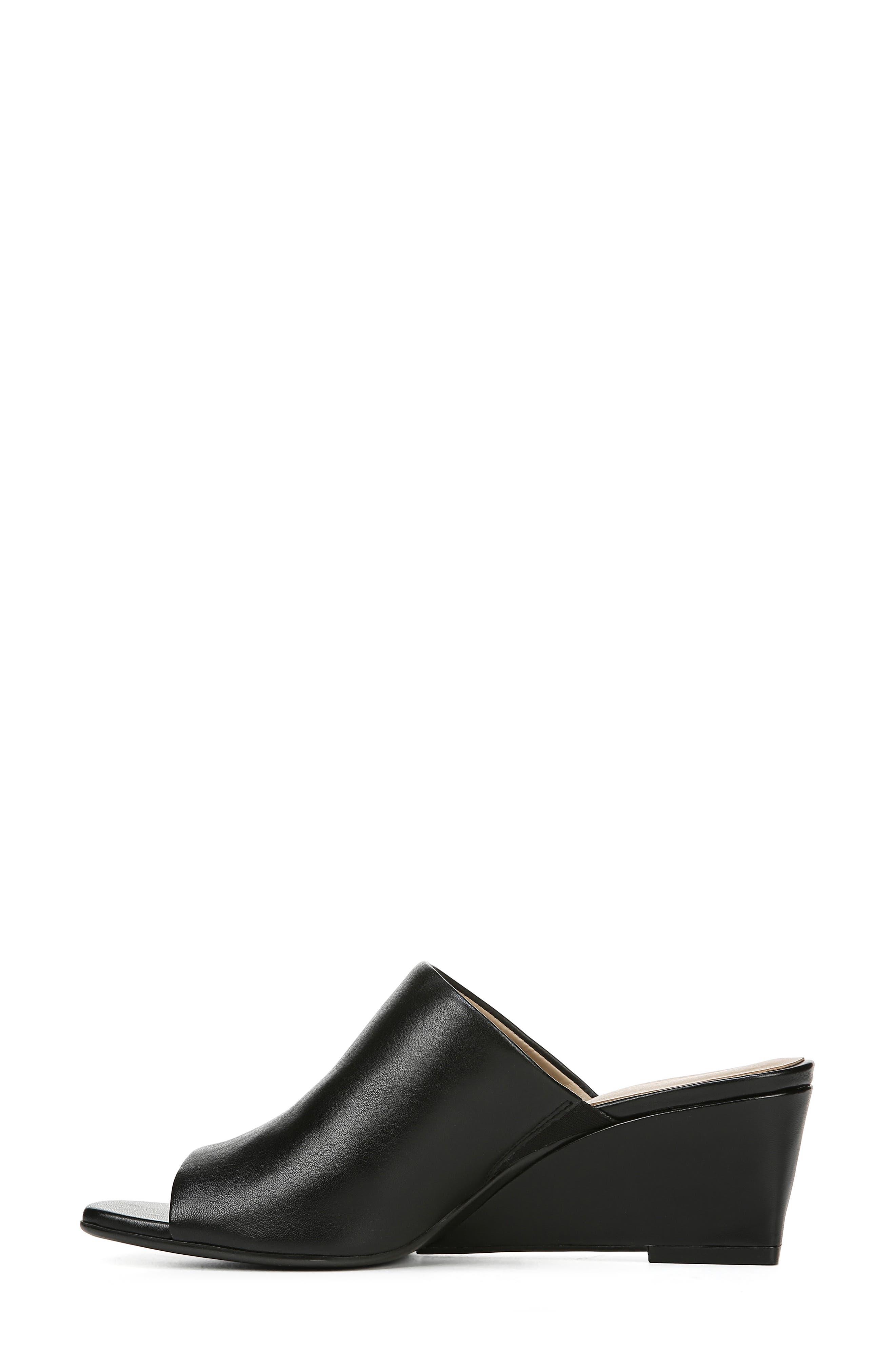 ,                             Zaya Wedge Slide Sandal,                             Alternate thumbnail 8, color,                             BLACK LEATHER