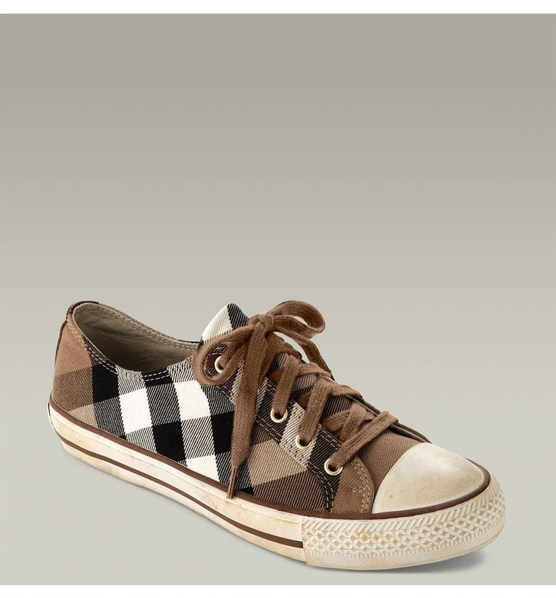 BURBERRY Check Lace-Up Sneaker, Main, color, 200