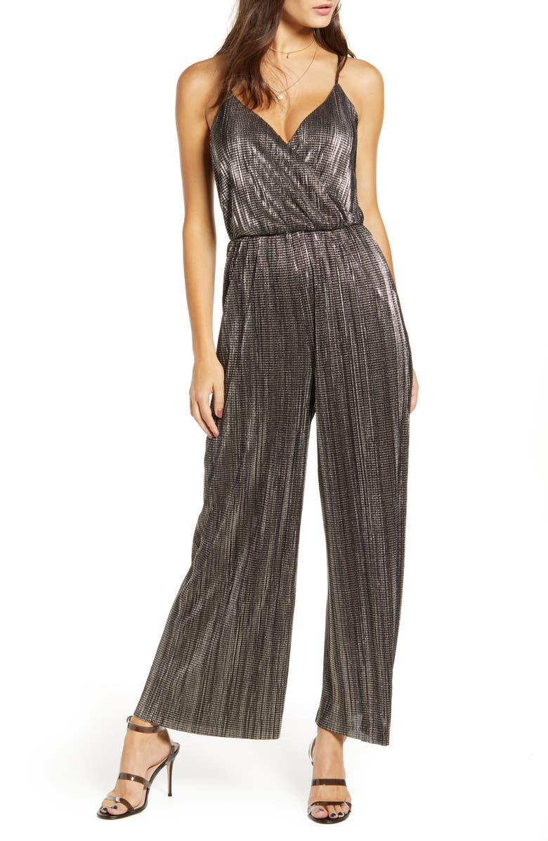 ALL IN FAVOR Metallic Racerback Jumpsuit, Main, color, BLACK/ GOLD