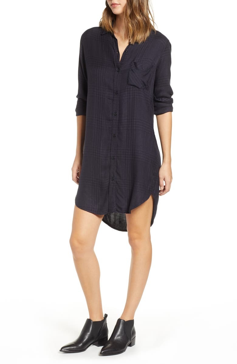 RAILS Bianca Flannel Shirtdress, Main, color, CHARCOAL SHADOW