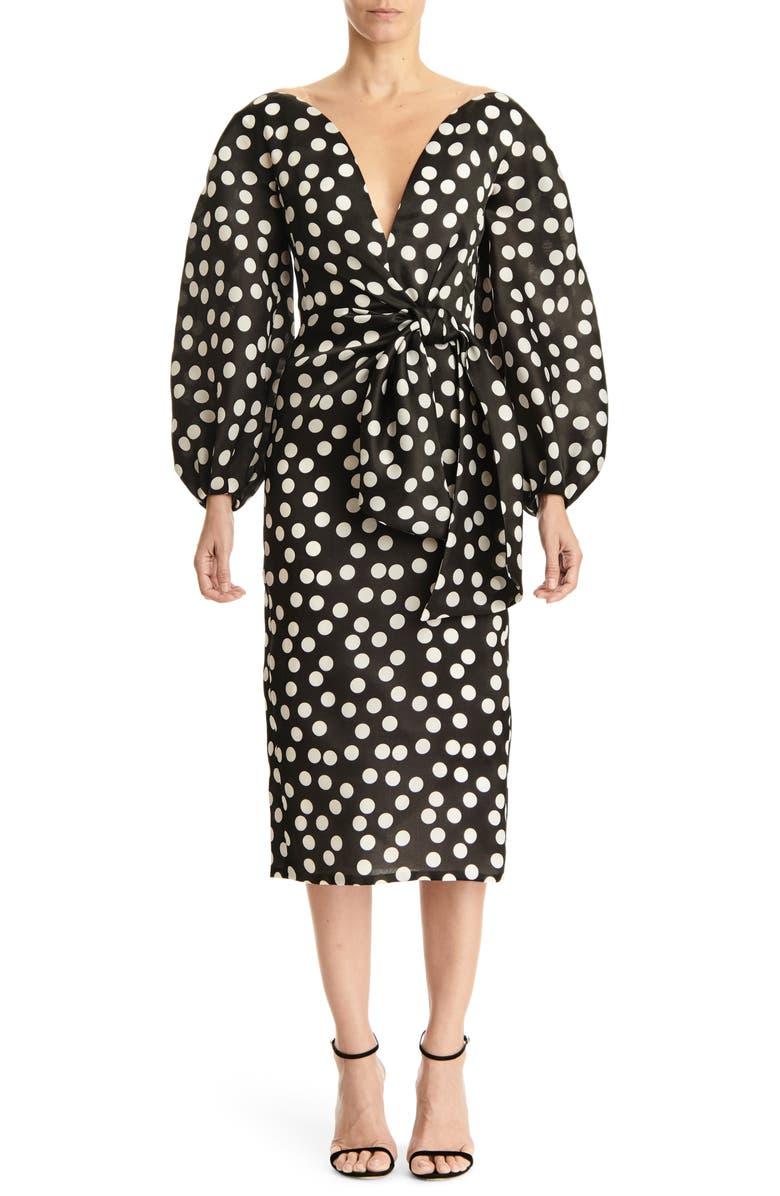 CAROLINA HERRERA Long Sleeve Wide V-Neck Dress, Main, color, BLACK/ WHITE