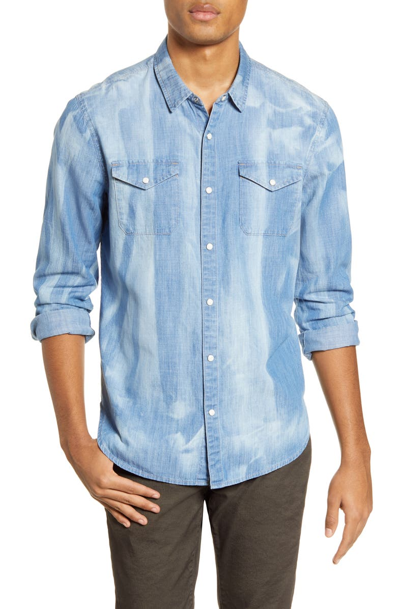 JOHN VARVATOS STAR USA Marshall Regular Fit Western Shirt, Main, color, INDIGO