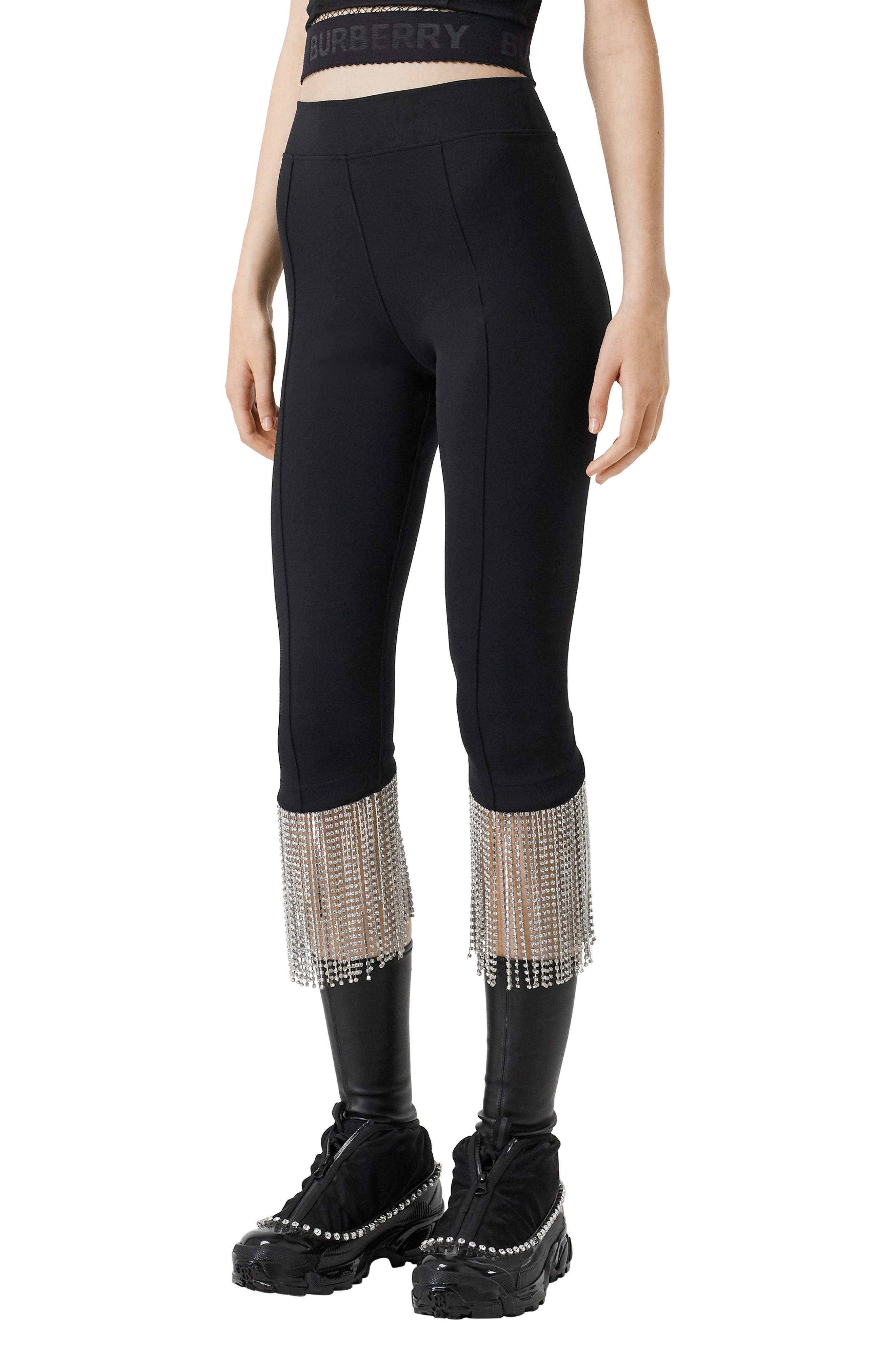 Women's Burberry Charente Crystal Fringe Crop Leggings,  Medium - Black