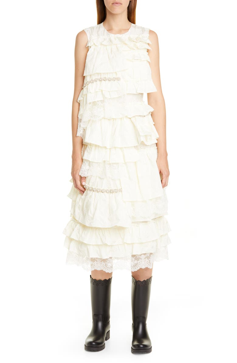 MONCLER GENIUS x 4 Simone Rocha Imitation Pearl Embellished Ruffle Midi Dress, Main, color, 100