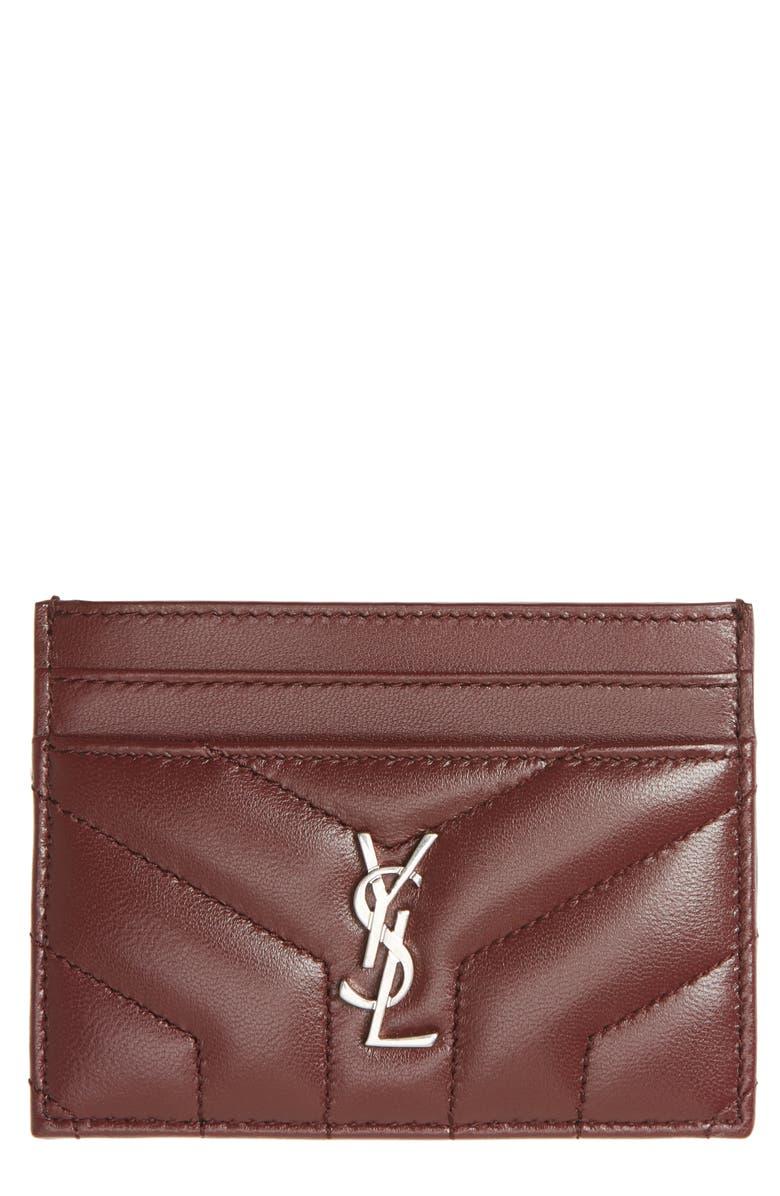 SAINT LAURENT Loulou Monogram Quilted Leather Credit Card Case, Main, color, ROUGE LEGION