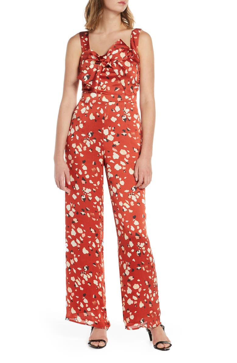ADELYN RAE Mae Floral Print Wide Leg Jumpsuit, Main, color, BRICK-MULTI