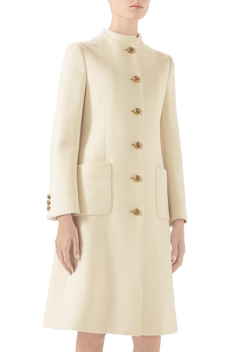 GUCCI Knot Button Wool Coat, Main, color, GARDENIA