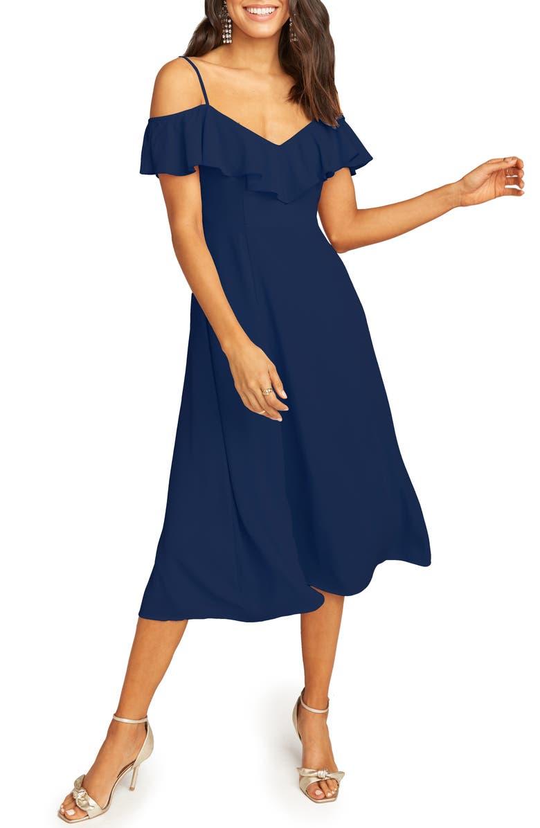 SHOW ME YOUR MUMU Camilla Ruffle Neck Tea Length Dress, Main, color, RICH NAVY CRISP