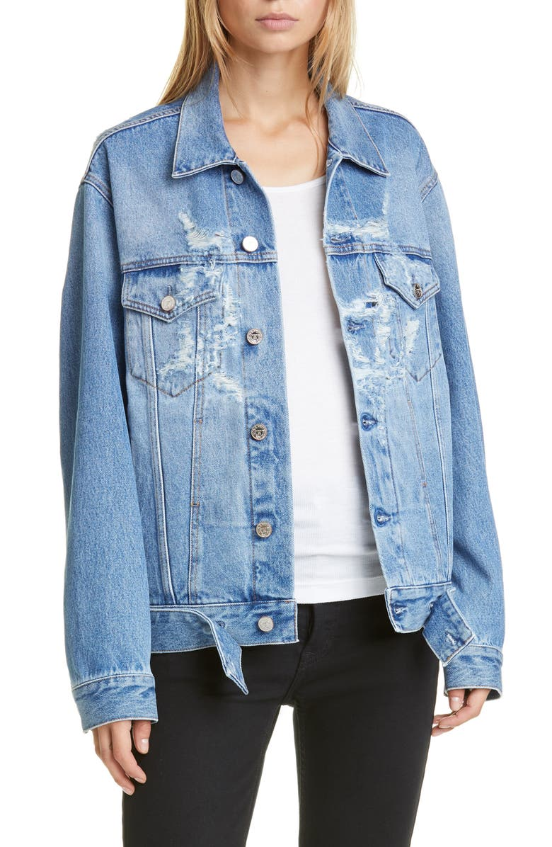 VETEMENTS Anarchy Ripped Denim Jacket, Main, color, BLUE