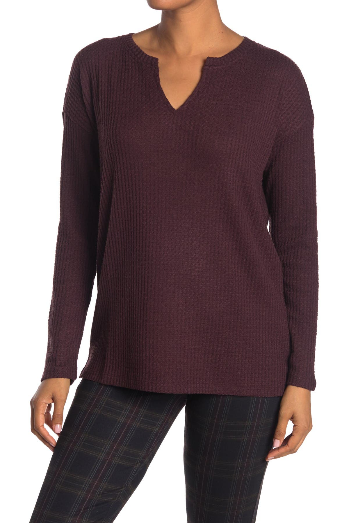 Image of Sanctuary Cozy Split Neck Long Sleeve Thermal Top