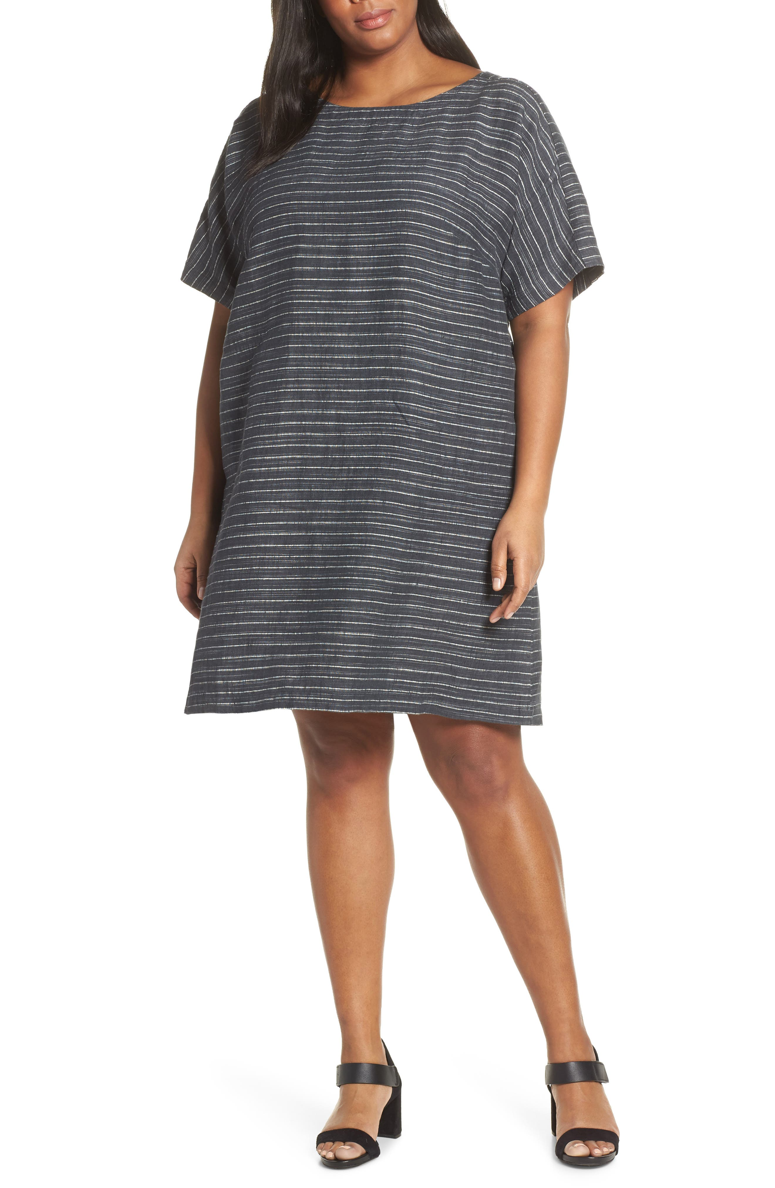 Plus Size Eileen Fisher Stripe Linen Tunic Dress, Grey