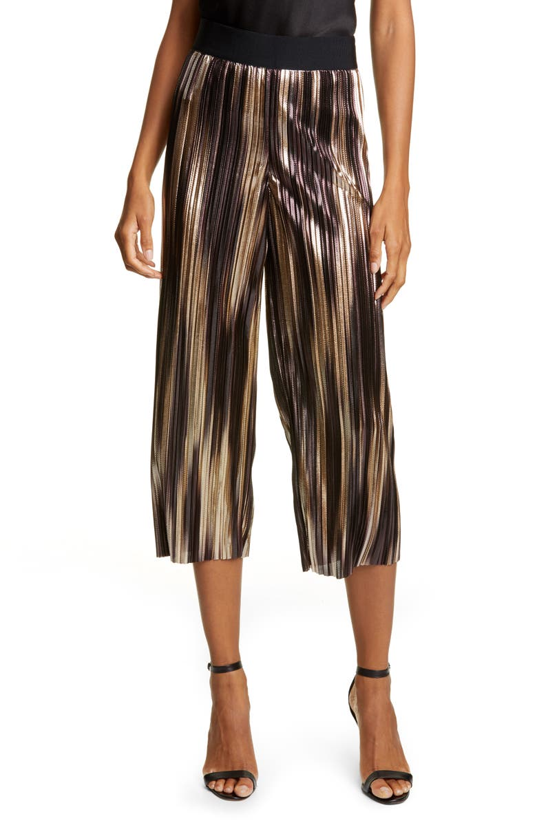 ALICE + OLIVIA Elba Metallic Wide Leg Pants, Main, color, GOLD MULTI