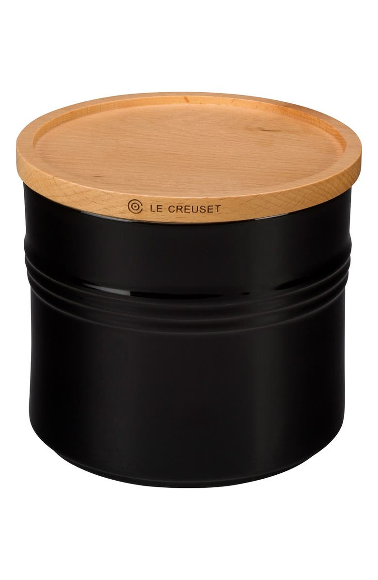 LE CREUSET Glazed Stoneware 1 1/2 Quart Storage Canister with Wooden Lid, Main, color, BLACK ONYX