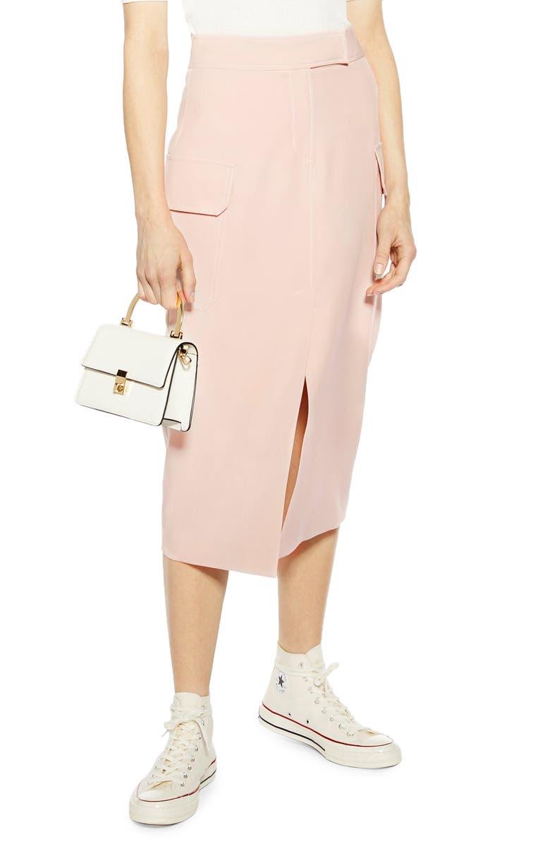 TOPSHOP Split Utility Midi Skirt, Main, color, NUDE