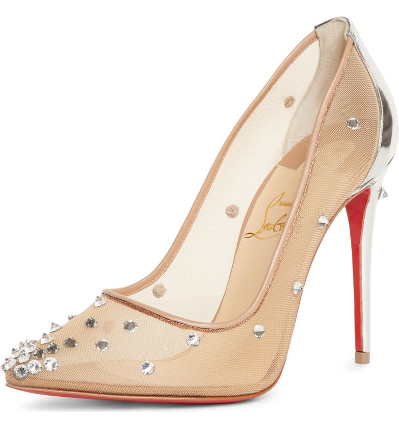 CHRISTIAN LOUBOUTIN Degra Crystal Spike Mesh Pump, Main, color, NUDE