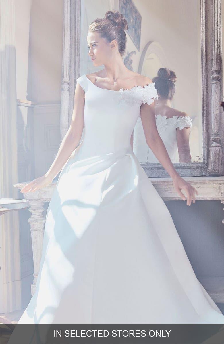 SAREH NOURI Ophelia Off the Shoulder Faille Ballgown, Main, color, IVORY
