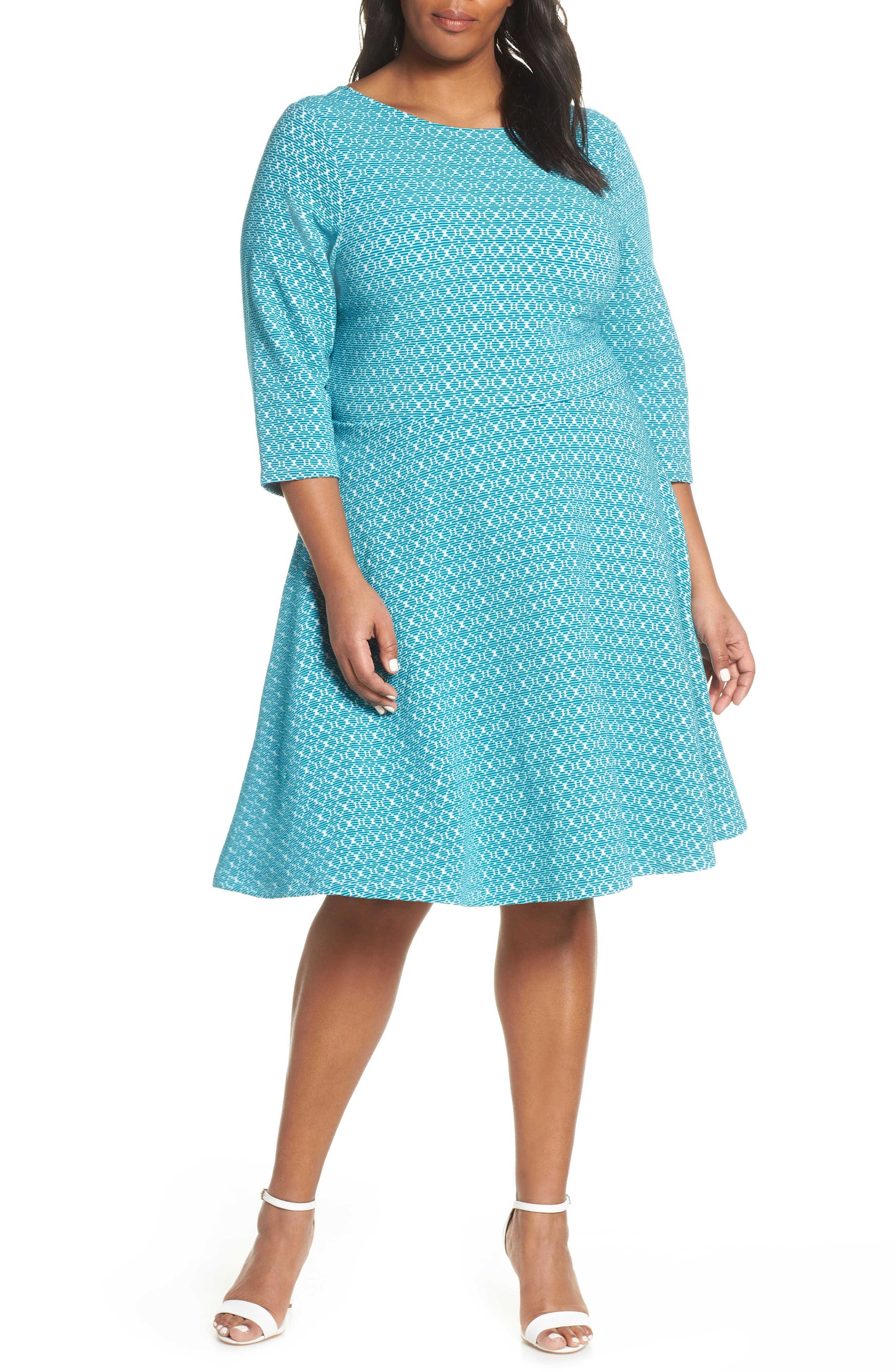 Plus Size Vintage Dresses, Plus Size Retro Dresses Plus Size Womens Leota Circle Knit Fit  Flare Dress Size 1X - Blue $188.00 AT vintagedancer.com