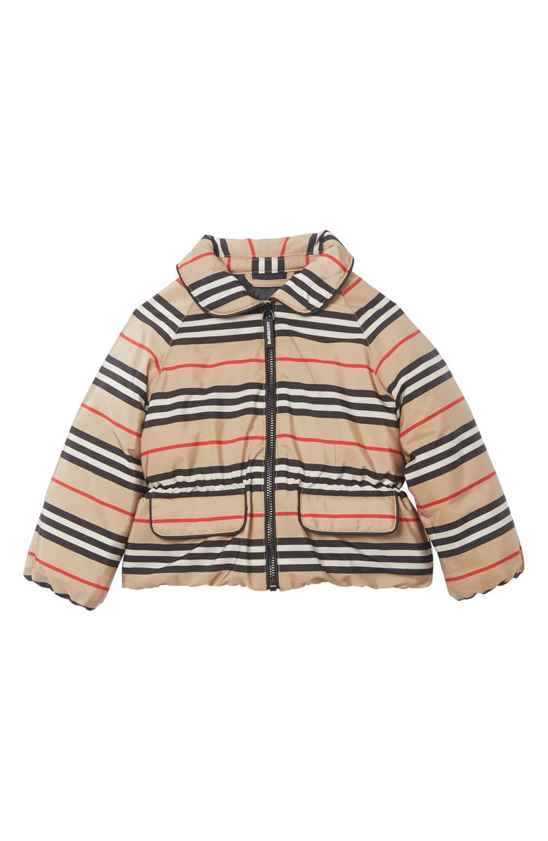 BURBERRY Mollie Icon Stripe Down Jacket, Main, color, ARCHIVE BEIGE IP S