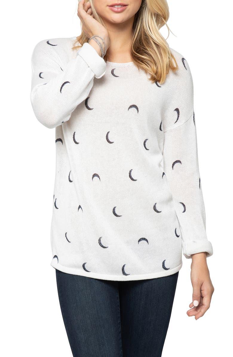 NIC+ZOE Over the Moon Sweater, Main, color, WHITE MULTI