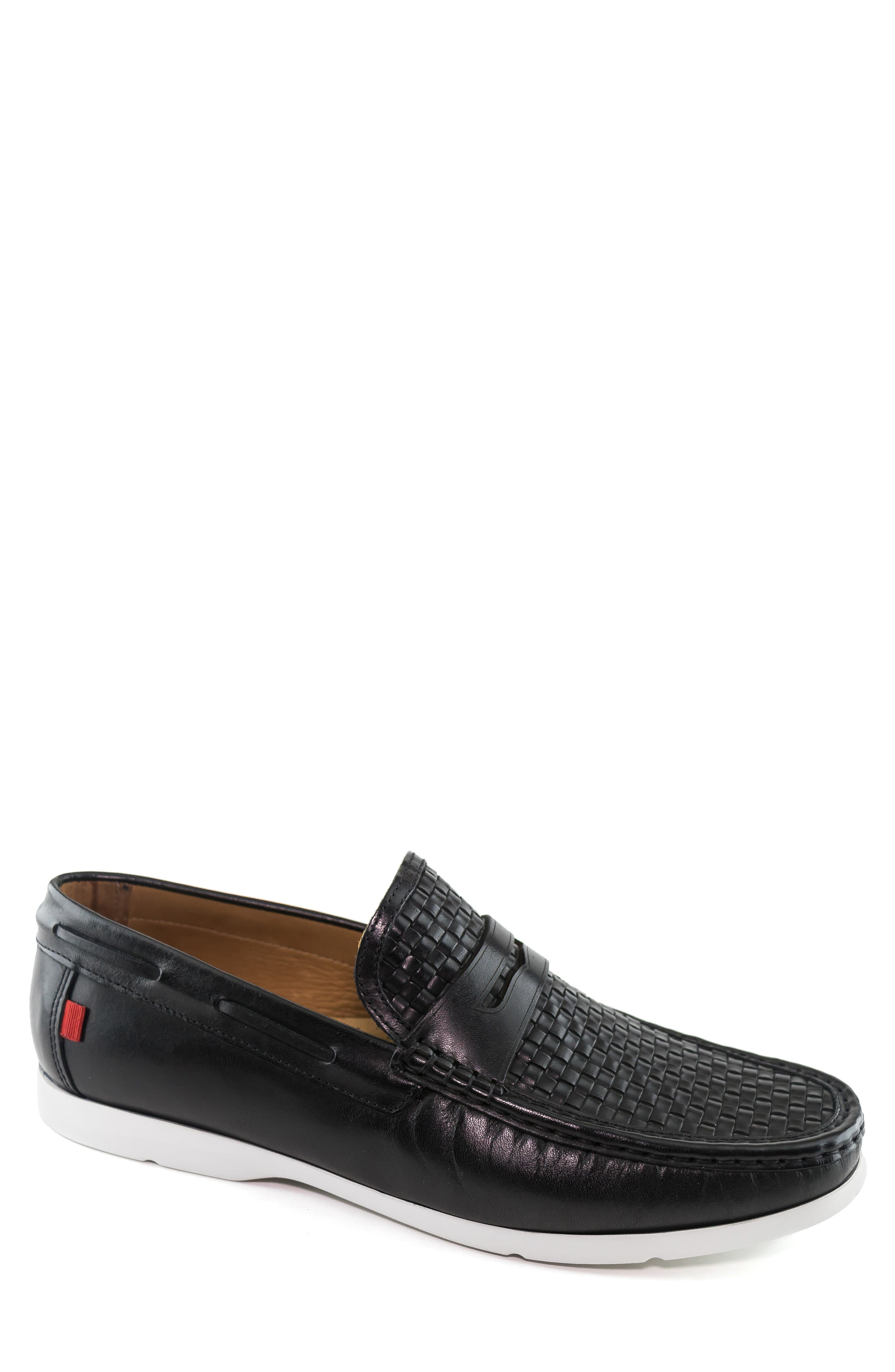 A woven texture adds intrigue to a versatile, handcrafted loafer built from supple nappa calfskin with a flexible traction sole. Style Name: Marc Joseph New York Thompson Street Penny Loafer (Men). Style Number: 5850497. Available in stores.