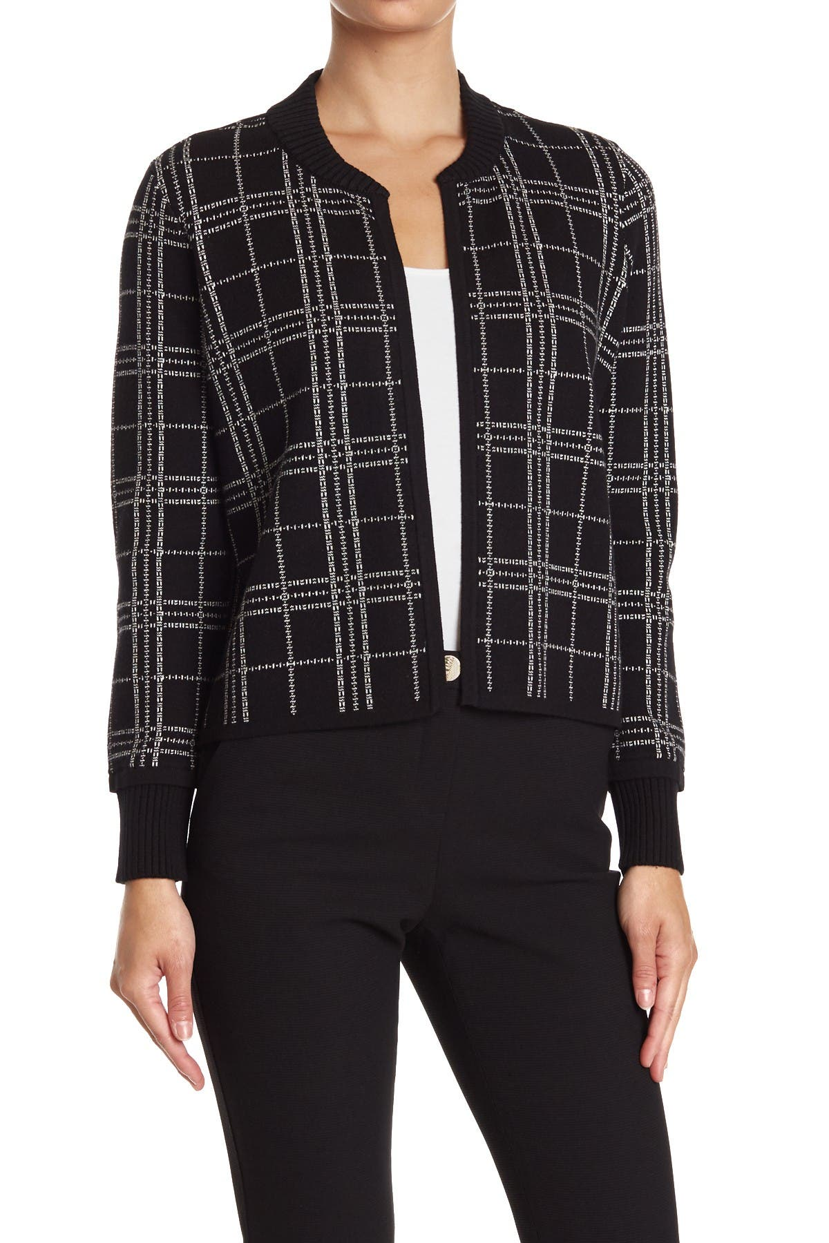 Image of Vince Camuto Windowpane Open Front Cardigan