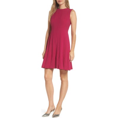 Julia Jordan Sleeveless Pleat Panel Fit & Flare Dress, Pink