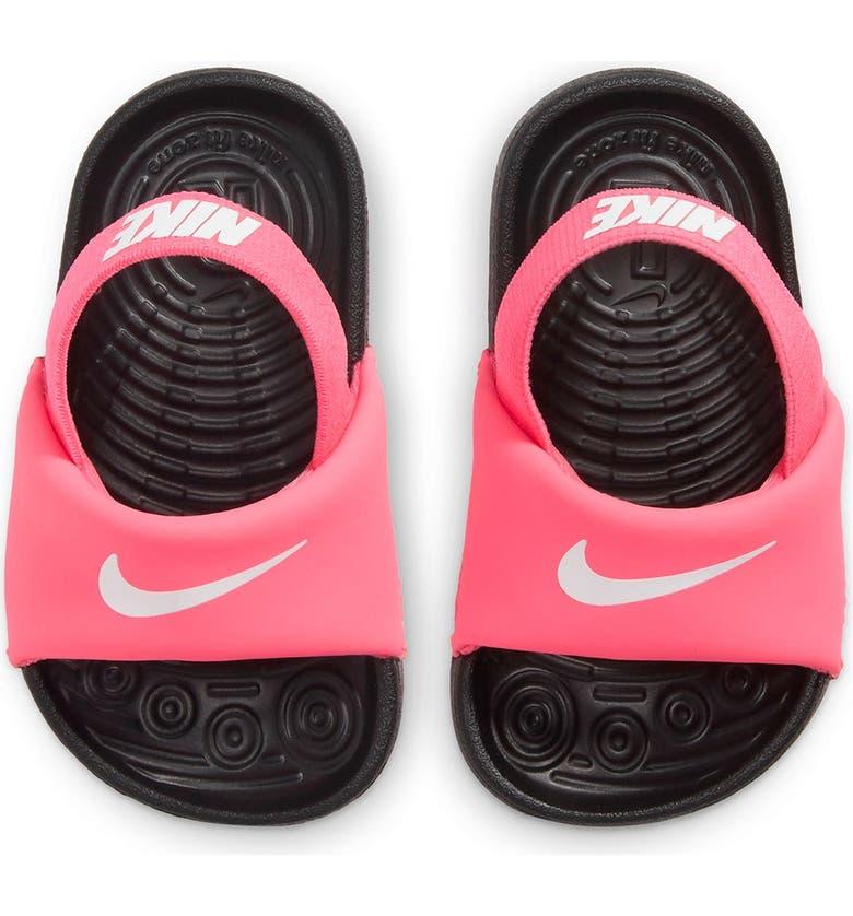 NIKE Kawa Slide Sandal, Main, color, 610 DGTLPK/WHITE