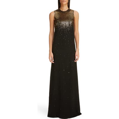 Givenchy Sequin Embroidered Silk Georgette Trumpet Gown