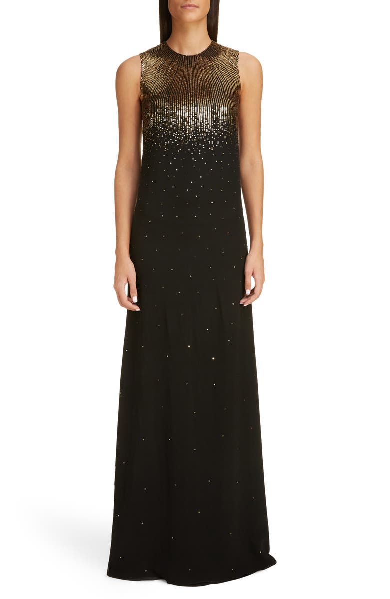 GIVENCHY Sequin Embroidered Silk Georgette Trumpet Gown, Main, color, BLACK