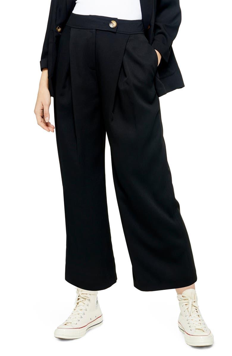 TOPSHOP Anita Wide Leg Cropped Trousers, Main, color, BLACK