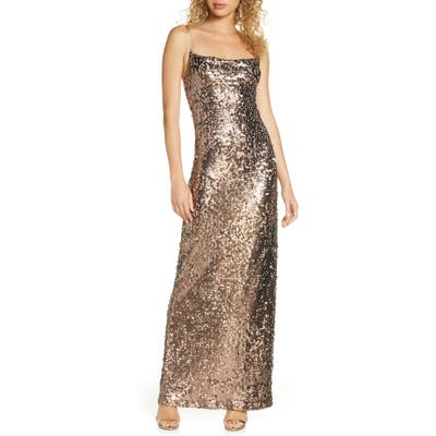 Wayf Amy Sequin Cowl Neck Gown, Brown