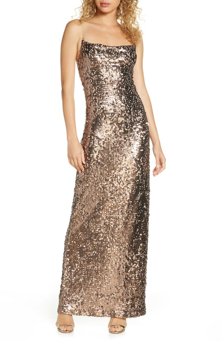 WAYF Amy Sequin Cowl Neck Gown, Main, color, BRONZE SEQUIN