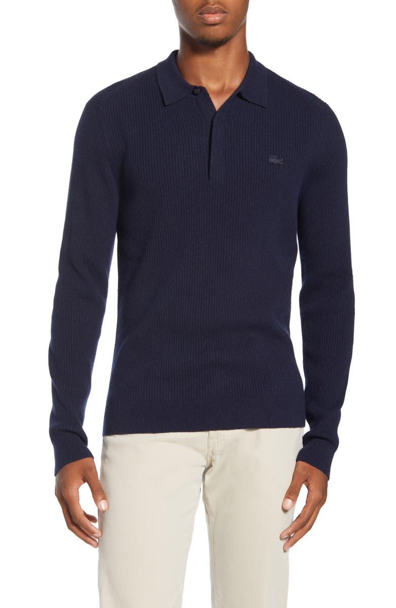 LACOSTE Rib Long Sleeve Polo Sweater, Main, color, DARK NAVY BLUE