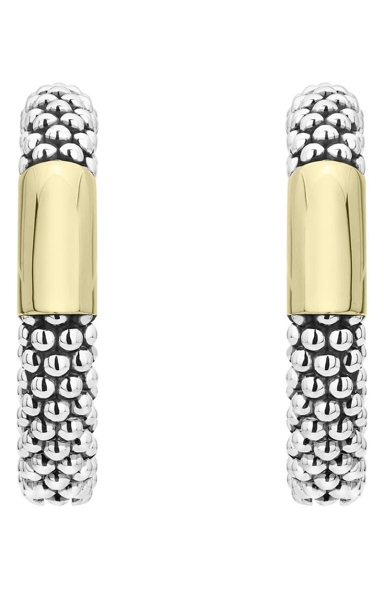 LAGOS 18k Gold Bar Caviar Hoop Earrings, Main, color, SILVER