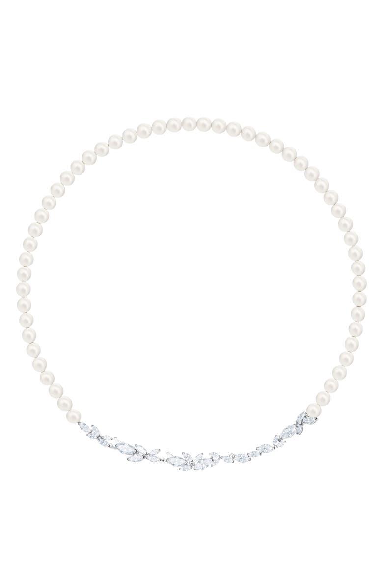SWAROVSKI Louison Crystal & Imitation Pearl All Around Necklace, Main, color, 040