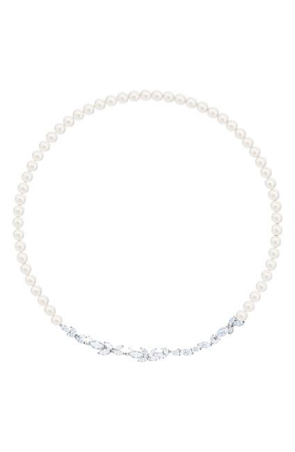 Image of Swarovski Louison Imitation Pearl & Crystal Leaf Necklace