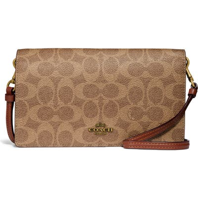 Coach Hayden Signature Canvas & Leather Foldover Convertible Crossbody Bag - Brown