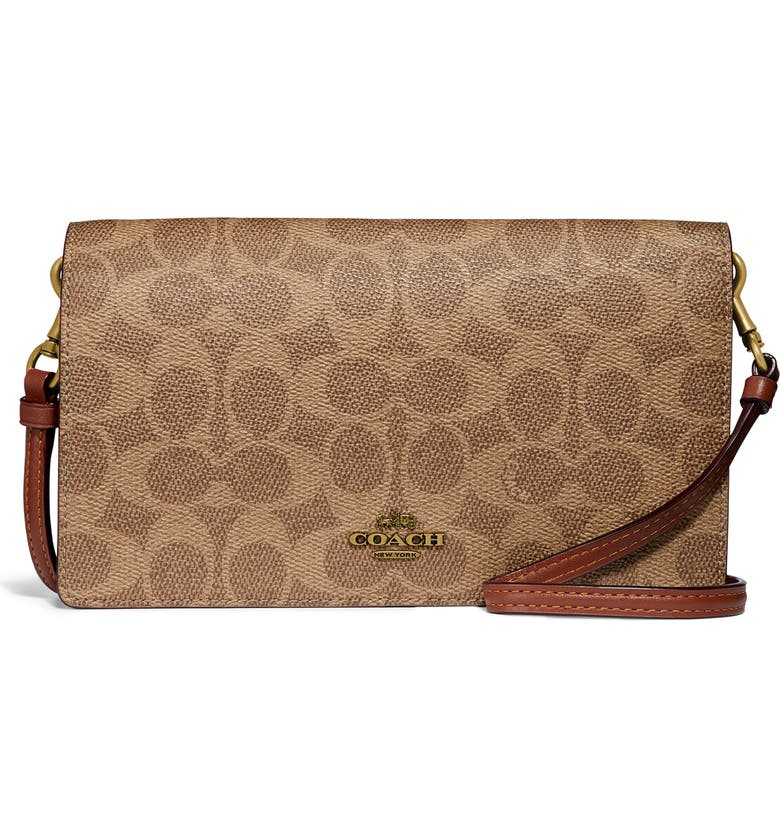 COACH Hayden Signature Canvas & Leather Foldover Convertible Crossbody Bag, Main, color, B4/ TAN RUST