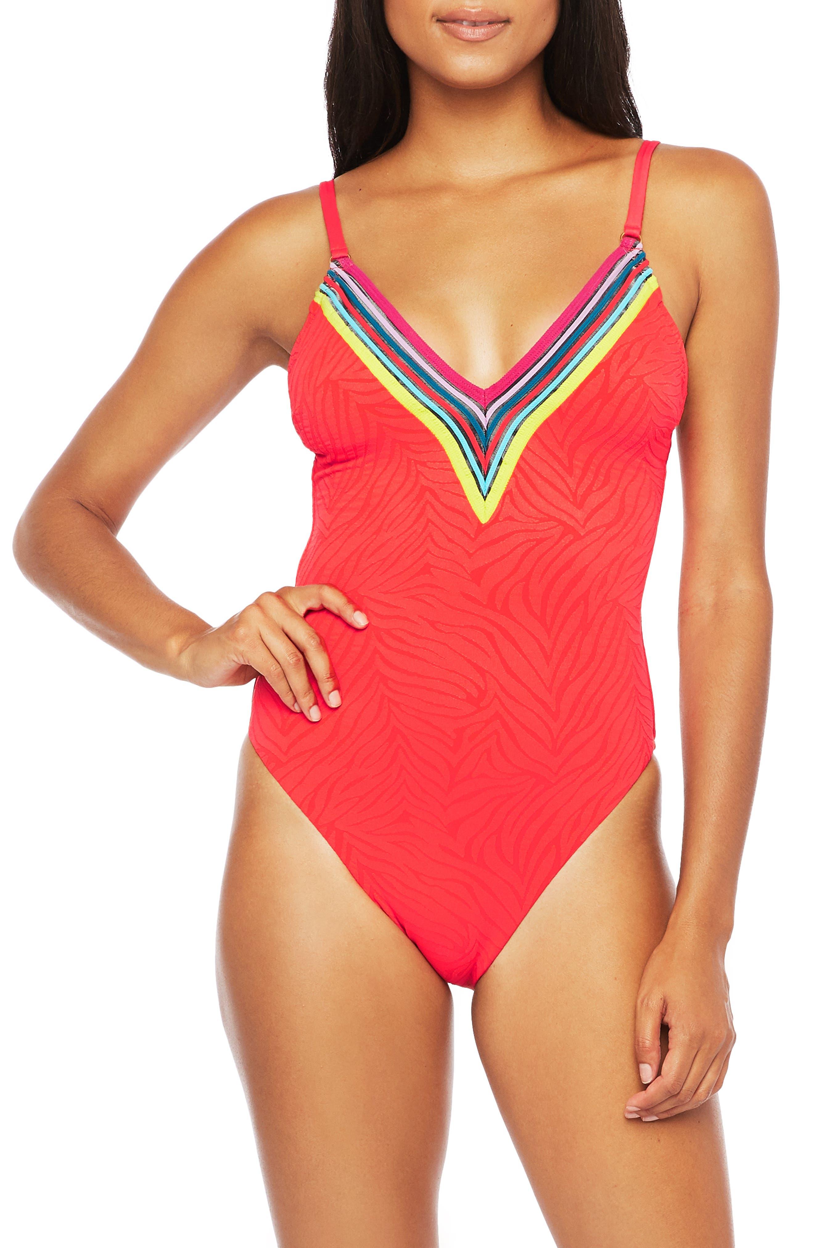 Vintage Bathing Suits | Retro Swimwear | Vintage Swimsuits Womens Trina Turk Stripe Trim Zebra One-Piece Swimsuit Size 8 - Red $97.20 AT vintagedancer.com