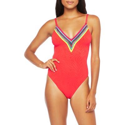 Trina Turk Stripe Trim Zebra One-Piece Swimsuit, Red