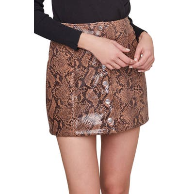 Astr The Label Come Slither Miniskirt, Brown