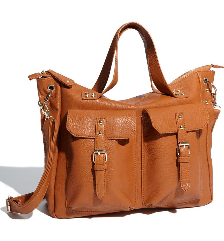 STREET LEVEL 'Triple 7' Oversized Faux Leather Tote, Main, color, 200