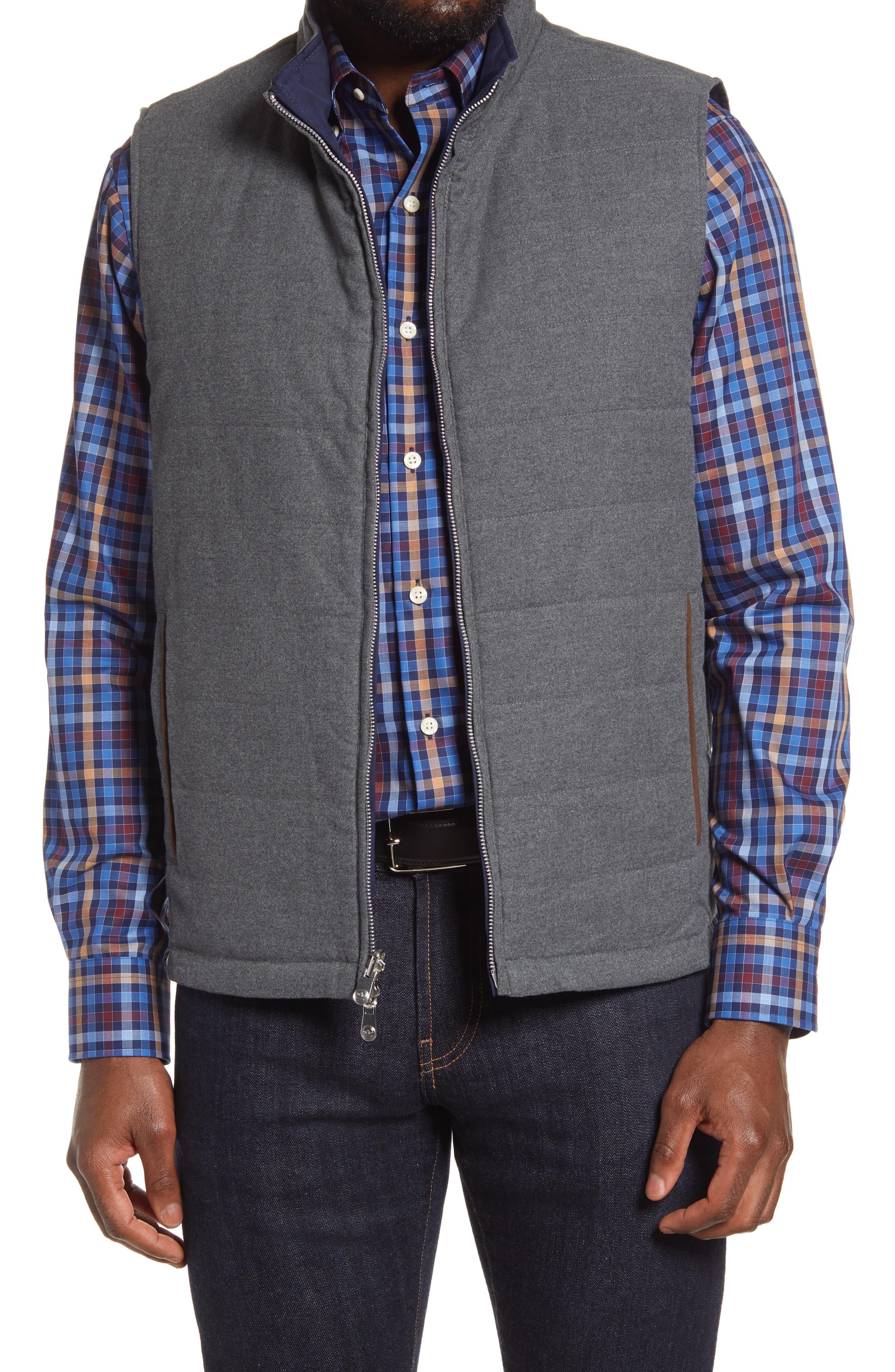 Men's Peter Millar Reversible Stretch Cotton Flannel Vest