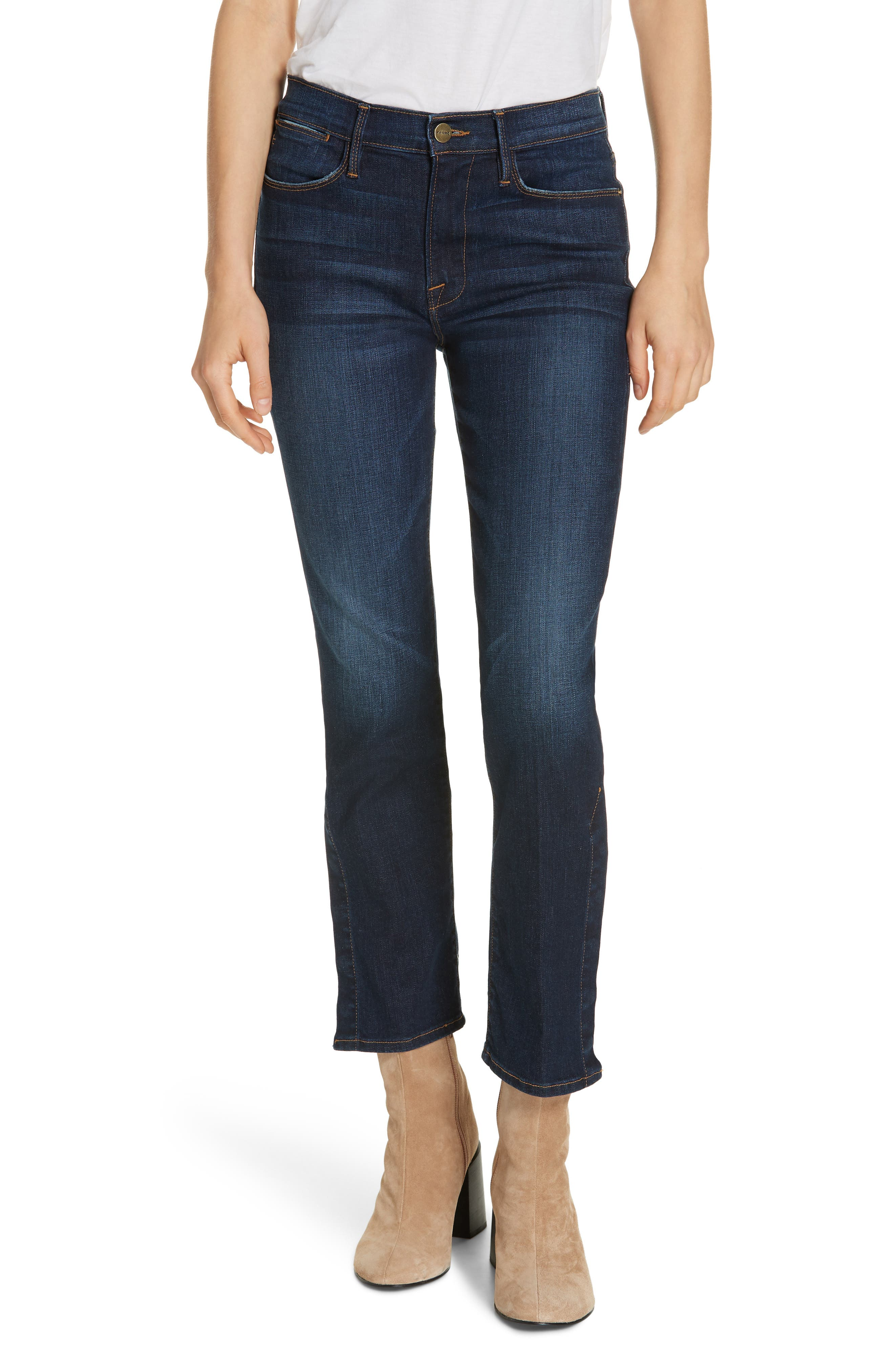 Le High Straight Snap Away Hem Jeans, Main, color, 401