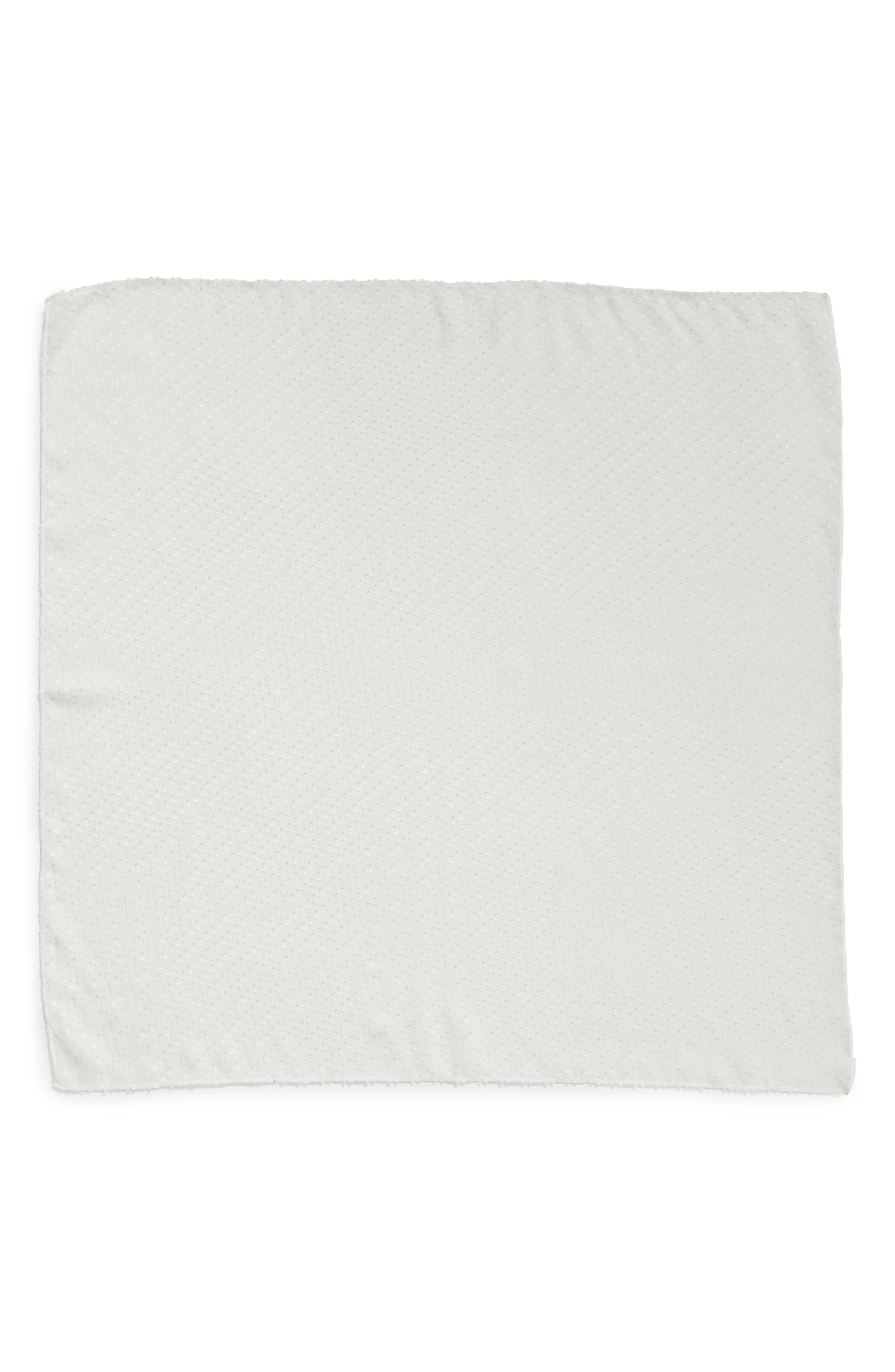 ,                             Swiss Dot Square Silk Blend Scarf,                             Alternate thumbnail 3, color,                             WHITE